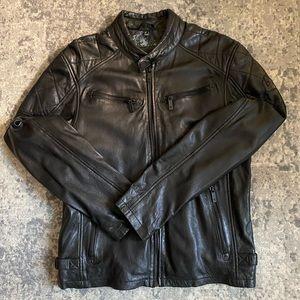 Size M  Classic Black Moto. Full Grain Leather